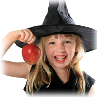 girl in witch costume holding an apple