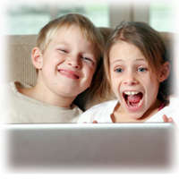 children laughing at computer